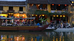 The thu bon river side during evening in the Old town of Hoi An Vietnam Stock Footage