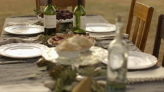High angle view of outdoor table setting Stock Footage