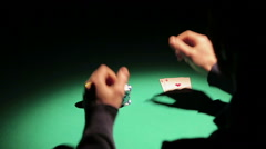 Emotions of successful poker player winning game in casino, celebrating victory Stock Footage