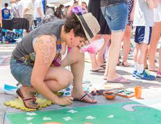 Artist Participating in Pasadena Chalk Festival - stock photo