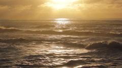 Beautiful golden sunset over the ocean in San Franscisco, California. Stock Footage