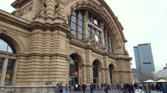 Outside of Frankfurt am Main central train station, people enter and exit Stock Footage