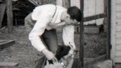 1938: Dapper man adjusting dog collar of clueless hunting breed. Stock Footage