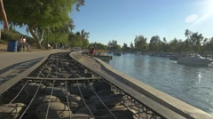 People walking during spring break in Lake Havasu City Stock Footage