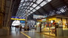 Inside Frankfurt central train station, train waits at platform, Germany Stock Footage