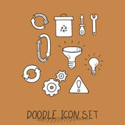 Set of Universal Doodle Icons. Variety of Topics - stock illustration