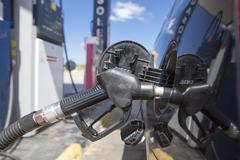 Car refueling on a petrol station. Nozzle detail Stock Photos