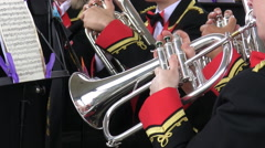Brass band instruments Stock Footage