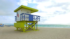 Lifeguard Tower Miami Beach 1st St Stock Footage