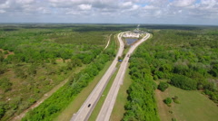 Turnpike Fort Drum service plaza aerial video shot with phantom 4 Stock Footage