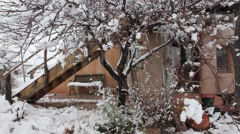 Snow Old Adobe Tower - stock footage