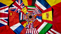 Flags of world united Stock Footage