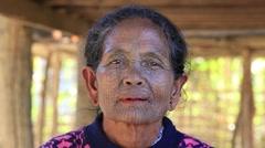 Stock Video Footage of Portrait Chin woman with spider tattoo .  Mrauk U, Myanmar. Burma