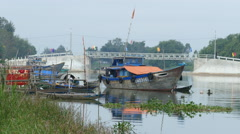Fishing boats in the morning in Hoi An Vietnam Stock Footage