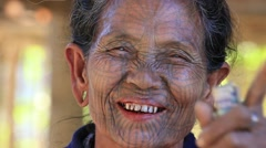 Portrait Chin woman with spider tattoo .  Mrauk U, Myanmar. Burma Stock Footage
