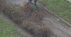 Yard Keeper Rakes a Dust by Broom on the Shovel Stock Footage