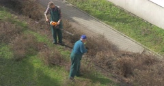 Man Sweeps Branches of Bush by Means of a Rake Stock Footage