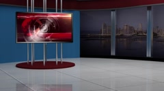 News TV Studio Set 137 - Virtual Green Screen Background Loop - stock footage