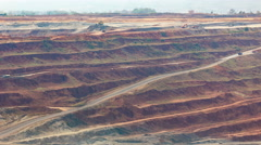 Timelapse Mining dump trucks working in Lignite coalmine lampang thailand Stock Footage