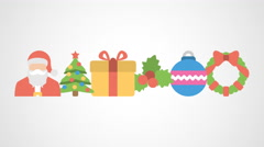 4K - Different christmas logo symbol icon - stock footage