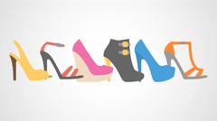 4K - Sliding heels icon logo symbol Stock Footage