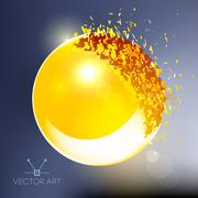 Golden 3D ball exploded into pieces - stock illustration