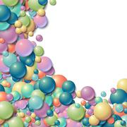Background frame with scattered messy glowing rubber balls Stock Illustration