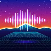 Retro gaming neon background with shiny music wave Stock Illustration