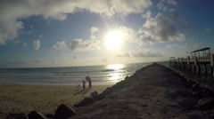 4K motion video of Breakwater at South Beach, Florida - stock footage