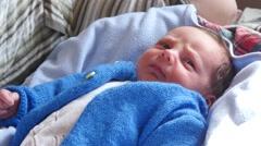 Newborn Baby Boy Portrait - stock footage