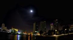 Timelpase 4K Night of Port, Arena, and Downtown Miami, Florida Stock Footage