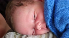 Cute Baby Boy Asleep On Chest - stock footage