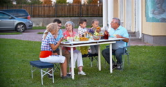 Family Dining Outdoor Stock Footage
