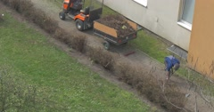 Yard Keepers Stop to be Engaged in Cleaning Stock Footage