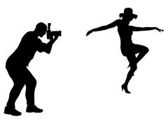 Silhouette photographer - stock illustration