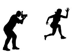 Silhouette photographer Stock Illustration