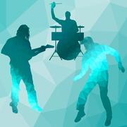 Silhouette music band Stock Illustration