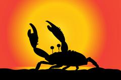 Vector silhouette of a crab. Stock Illustration