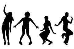 Vector silhouettes of women. - stock illustration
