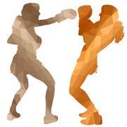 boxer woman - stock illustration
