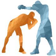 boxer man - stock illustration