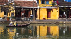 Rowboat on Thu Bon River in Hoi An, Vietnam - stock footage