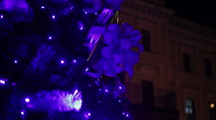 Main New Year tree decorating central square of old European city for holidays Stock Footage