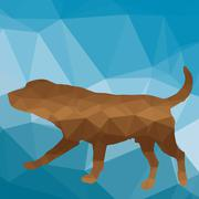 low poly dog - stock illustration