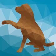 low poly dog - stock illustration