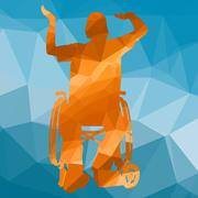 handicapped man - stock illustration