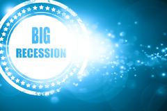 Stock Illustration of Blue stamp on a glittering background: Recession sign background