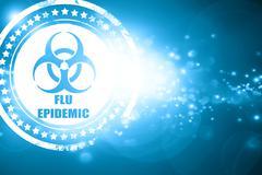 Blue stamp on a glittering background: Flu virus concept backgro - stock illustration