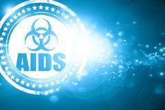Blue stamp on a glittering background: Aids virus concept backgr Stock Illustration