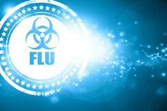 Blue stamp on a glittering background: Influenza virus concept b - stock illustration